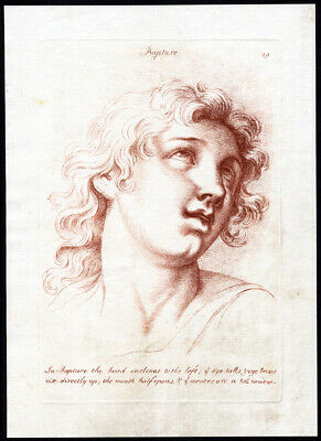 Antique Master Print-HEAD-EXPRESSION OF PASSION-RAPTURE-Smith-1765