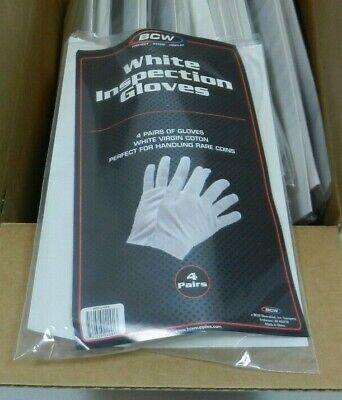 BCW White Coin Inspection Gloves Virgin Cotton 60 Pairs Jewelry
