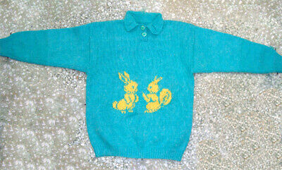 Vintage Knitting Child(6 years)Handmade in Green Wool with two Squirrels Design