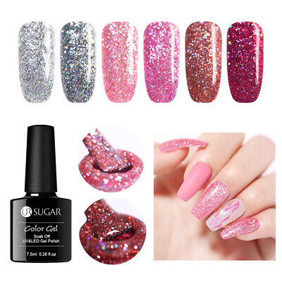 UR SUGAR 7.5ml Holographics Gel Polish Glitter Pink Soak Off Nail Gel Varnish