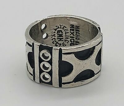 Vintage Taxco Sterling Silver Pre-Columbian Motif Cigar Band Ring--Sz 5.25
