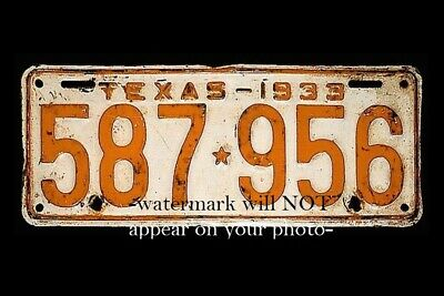 1933 Bonnie & Clyde Car License Plate PHOTO Gangsters Famous Plate Number