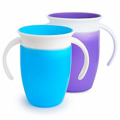 Munchkin Miracle 360 Trainer Cup, Purple/Blue, 7 oz/207 ml, Pack of 2