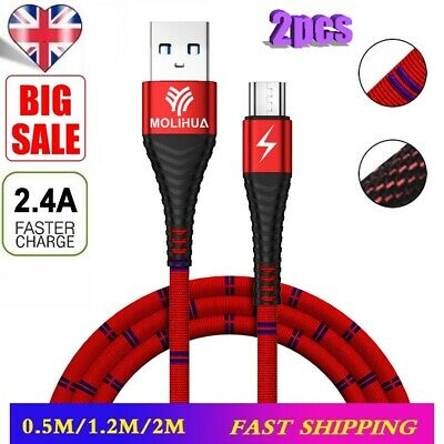2PCS Heavyduty Braided Micro USB Charger Charging Lead Data Sync Phone Cable NW