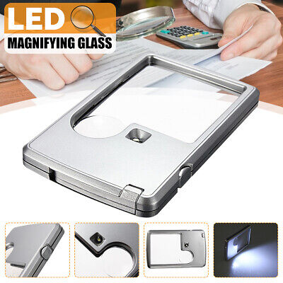 UK 3X 6X Magnifying Glass With LED Light For Reading Magnifier Credit Card