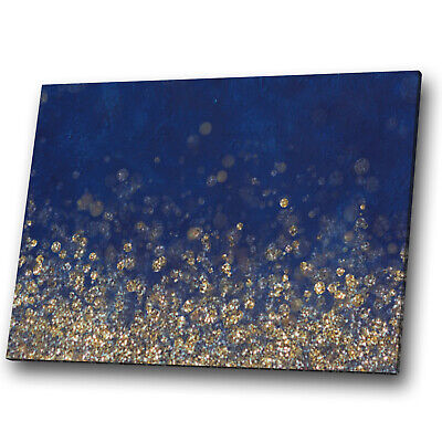 Abstract Canvas Print Framed Wall Art Photo Picture Blue Navy Yellow Gold Cool