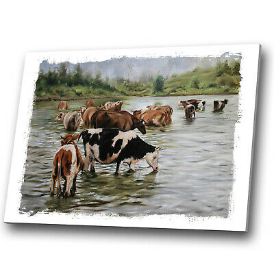 Animal Canvas Print Framed Kitchen Wall Art Small Picture Brown White Green Cows