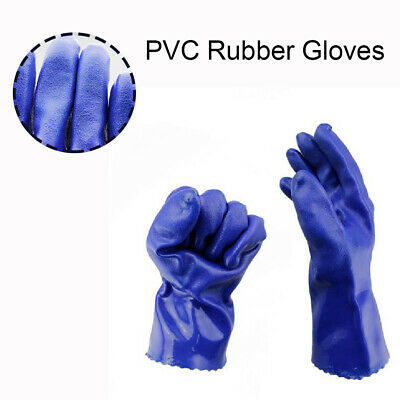 1 Pair Heavy Duty Blue PVC Rubber Work Gloves Long Arm Chemical Safety Gauntlet