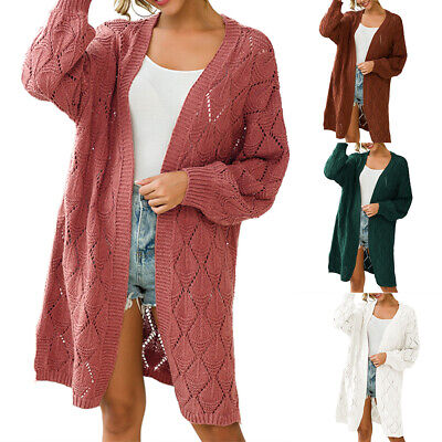 Womens Chunky Cable Knit Hollow Out Long Cardigan Sweater Outwear Coat GIFT