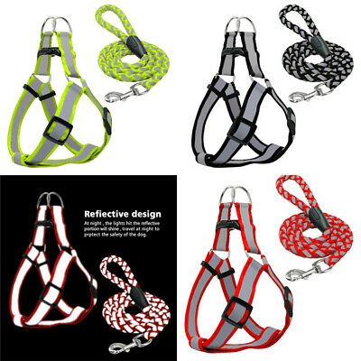 Reflective Nylon Dog Harness and 110cm Lead Leash New UK Pet Cat Soft Adjustable