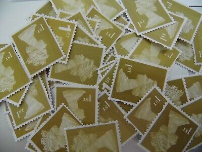 50 Unfranked Royal Mail Gold 1st First Class Postage Stamps Off Paper