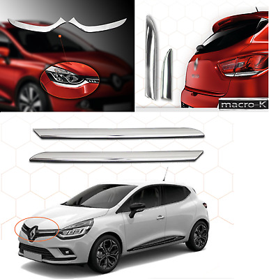 2012+ Renault CLIO 4 IV HB Chrome Rear&Head Lamp Light Surround&Front Grill SET