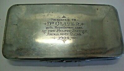 Dated 1904 nickel silver cased hypodermic cased set- ambulance class