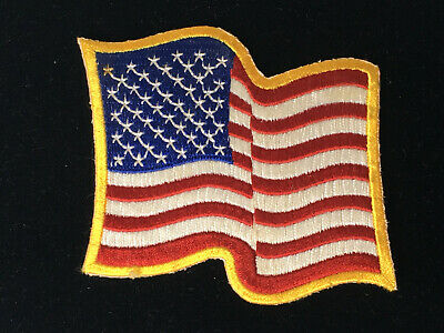 Waving American Flag Yellow Border USA/Biker Iron on Applique/Embroidered Patch