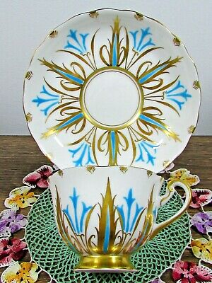 Royal Chelsea Hand Painted Turquoise & Gold Designs Tea Cup And Saucer
