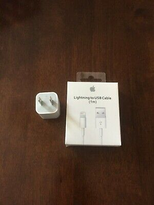 GENUINE ORIGINAL OEM APPLE LIGHTNING USB CABLE & CHARGER Cube 5v IPHONE X 8 7 6s