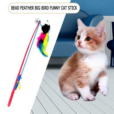 Cat Feather Mouse Stick Toy Funny Kitten Playing Rods Pet Interactive Toys #w