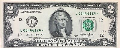 2013 2$ ✯STAR NOTES✯ Two Dollar Bills Sequential UNC San Francisco
