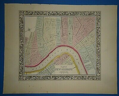 Vintage 1861 NEW ORLEANS, LOUISIANA MAP Old Antique Original Atlas Map