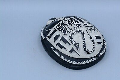 Egyptian Scarab Amulet Beetle carved basalt stone made in Egypt