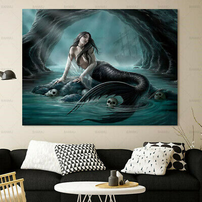 Siren Mermaid and Skull Canvas Painting Wall Art Picture HD Print Home Decor