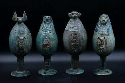 Vintage Set of 4 art canopic jars antique carving rare faience made in egypt