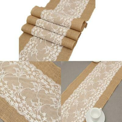 Table Burlap Lace Patchwork Table Runners Christmas Wedding Party Table EN24H