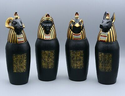 Unique Beautiful Egyptian Set of 4 art canopic jars - made in egypt
