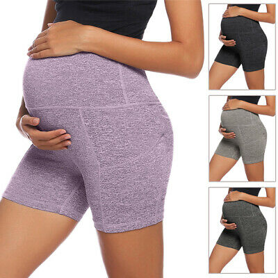 Women's Premom Comfy Shorts Maternity High Waist Tummy Control Workout Pants