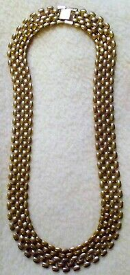 RaRe 16MM Wide Mesh Basket Weave SOLID BRASS Vintage NOS Chain Necklace ALL