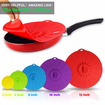 5X Fresh Cover  Silicone Microwave Bowl Cover Reusable Food Wraps Cooking Pot UK