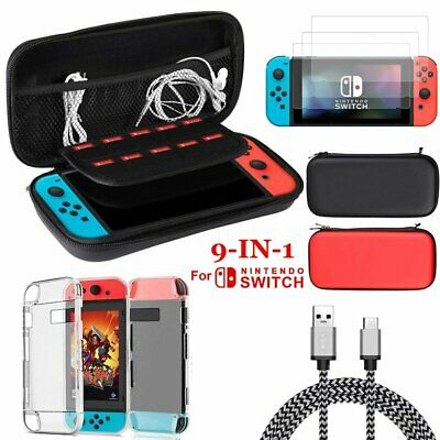 for Nintendo Switch Case 9-IN-1 EVA Bag+Shell Cover+Charging Cable+Protector UK