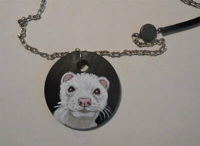 Albino Ferret Chain Necklace Hand Painted Wooden Pendant
