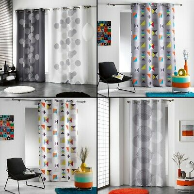 Long Drop Cushion Sensalia Feather Print Eyelet Curtain Panel 4 Colours