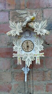 Vintage White Painted Black Forest Wooden Carved Cuckoo Clock
