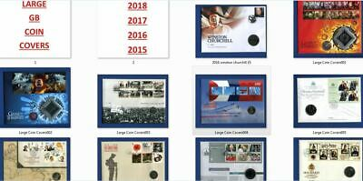 LARGE - GB COIN COVERS 2015 2016 2017 & 2018 - 50p £1 £2 £5 + Medals etc - NEW