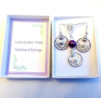 Lucky Scottish Thistle Celtic Necklace /& Earrings Silver Plated Faux Pearl /& Box