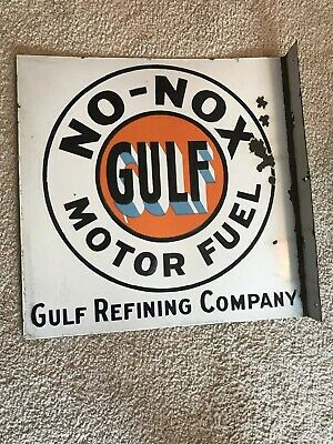 VRARE Gulf NO-NOX Motor Fuel Porcelain Flange Sign Original 1920s Gas Station
