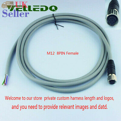 Personalised M12 Female Stright 8Pin Connector Electrical Robot 2m PVC Cable UK