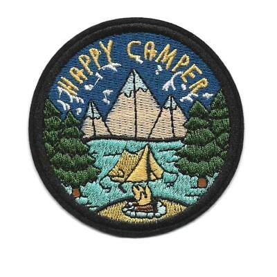 """HAPPY CAMPER IRON ON PATCH 3"""" Outdoor Adventure Camping Embroidered Applique"""