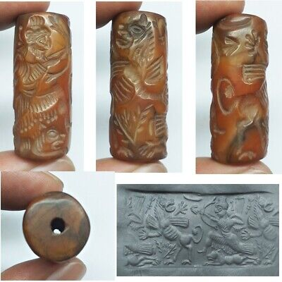 Ancient Cylinder seal intaglio Agate Cylinder Sassanian King Hunting Animal bead