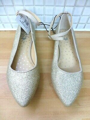 Bluezoo Girls Buckle Glitter Pointed Pumps Shoes Size 2/35 BNWT RRP £20.49 Gold