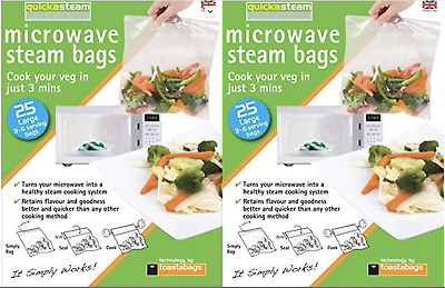 2x Quickasteam Microwave Steam Cooking Bags, 25-Packs Large 3-6 Serving Bags
