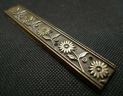 Antique Flower Design Victorian Letterpress bronze print block edging, beautiful