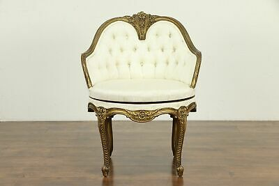 Swivel Vintage Carved Chair, Carved Dark Gold Frame, Tufted Upholstery #31582