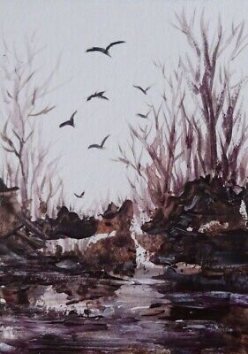 Wilderness -  Original Aceo  Watercolor  Acrylic Landscape Painting Canvas Card