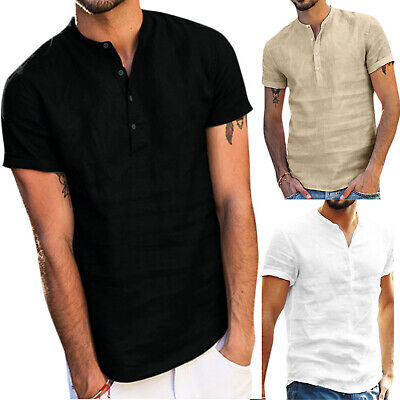 Mens Linen V Neck Short Sleeve Basic Tee T-shirt Casual Button Down Tops Blouse