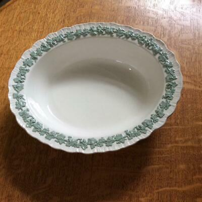 Wedgwood Embossed Queensware celadon on cream shell edge oval vegetable bowl