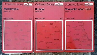 Lot of 3 Ordnance Survey 1 Inch Maps Wensleydale 90/Durham 85/Newcastle U Tyne78