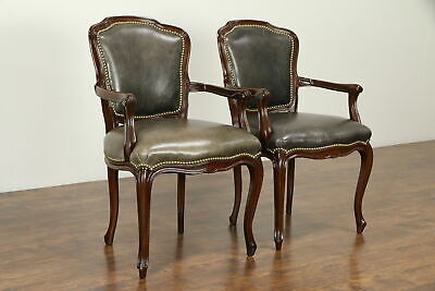 Pair of French Vintage Leather Fauteuil Chairs, Brass Nailhead Trim #31649